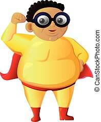 Obese super hero vector icon