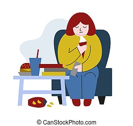 Obese woman. Fat woman sitting on chair and eating. Concept ...