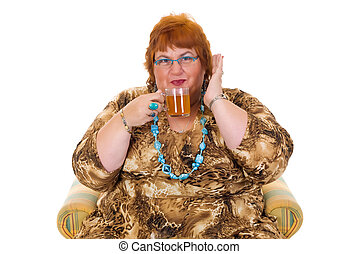 Obese woman - Self confident obese middle aged woman having...