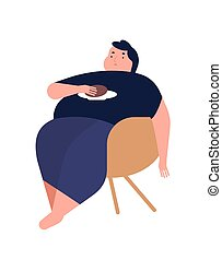 Obese young man. Fat boy sitting on chair. Concept of...