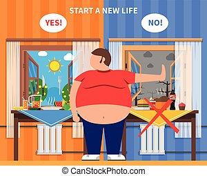 obesidad, diseño, composición