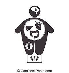 obesidad, enfermedades, relacionado, iconos
