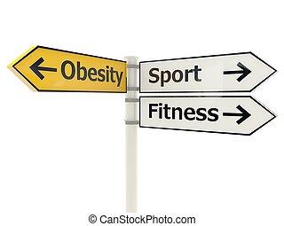 obesidade, branca, isolado, sinal estrada