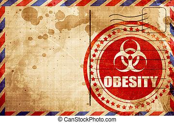 obesità, concetto, fondo, grunge rosso, francobollo, su, un, posta aerea, backg