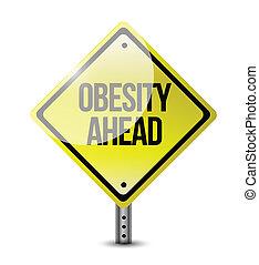 obesity ahead road sign illustration design