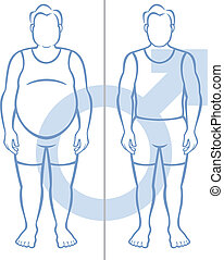 Obesity and Men - Illustration of an obese man side by side...