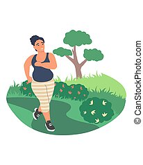 Obesity and weight problems. Fat woman jogging in the park, flat vector illustration. Weight loss, healthy lifestyle.