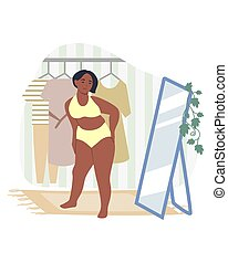 Obesity and weight problems. Sad overweight woman in underwear looking at herself in the mirror, flat vector illustration. Unhealthy eating and lifestyle. Dysmorphophobia.