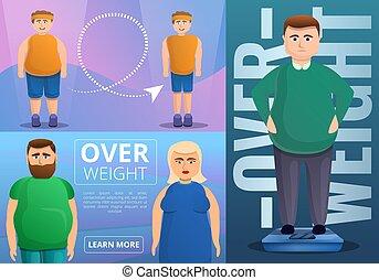 Obesity banner set, cartoon style