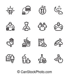 Obesity behavioral risk factors, Vector line icons set