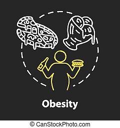 Obesity chalk RGB color concept icon