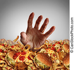 Obesity Concept - Obesity and overweight concept as the hand...
