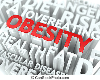 Obesity Concept. The Word of Red Color Located over Text of...