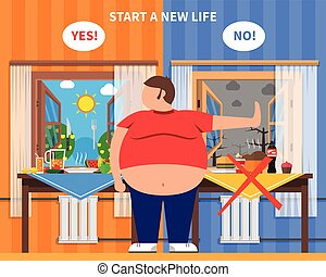 Obesity design composition with fat man in center and healthy and junk food kits on background flat vector illustration