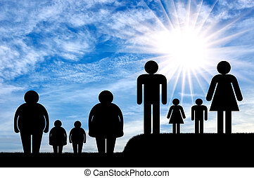 Obesity family concept. Fat family and a normal family