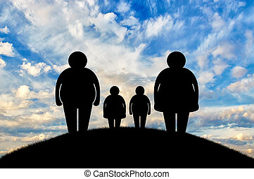Fat family at sunset