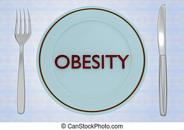 OBESITY - fitness concept - 3D illustration of OBESITY title...