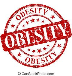 Obesity grunge red round stamp