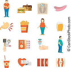 Collection color icons depicting factors and consequences of obesity with white background vector illustration