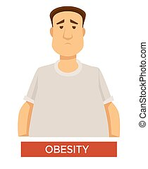 Obesity problem overweight and overeating isolated male character