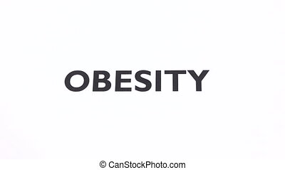 OBESITY prohibition symbol, lose weight, fat ban writing...