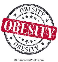 Obesity red grunge round stamp on white background