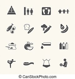 obesity related diseases and prevention by food nutrition. Vector icons set