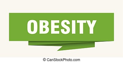 obesity sign. obesity paper origami speech bubble. obesity...