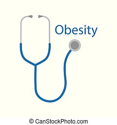 Obesity text and stethoscope icon- vector illustration