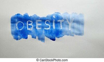 obesity text inscription watercolor artist paints blot...
