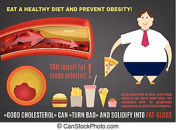 Obesity vector infopraphics - Eat a healthy diet and prevent...