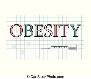 obesity word on checkered paper sheet- vector illustration