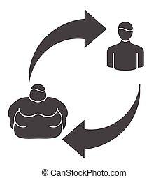 obeso, classificazione, icone, persone., livello, apparenza, forma, vettore, obesità, linea, fisico
