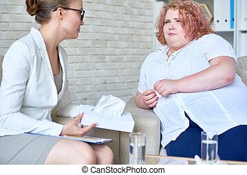 obeso, donna mangia, psichiatra, discutere, giovane, disordine