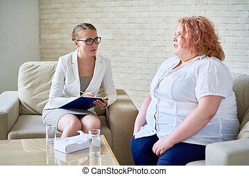 obeso, falando, mulher, psiquiatra, jovem
