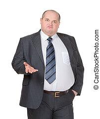 obeso, hombre de negocios, elaboración, punto