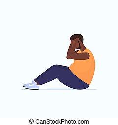 obeso, sedere-ups, concetto, addominale, perdita peso, ...