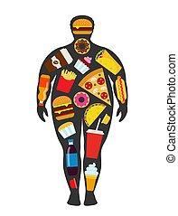 obesty, ungesund, silhouette, elements., lebensmittel, concept., zerstreut, trödel, schnell, mann