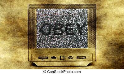 Obey concept  on vintage tv set