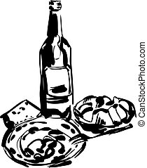 obiad, butelka, wino