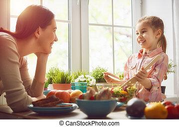 obiad, cieszący się, rodzina