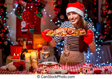 obiad, kobieta, przygotowując, boże narodzenie