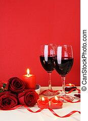 obiad, pojęcie, romantyk, pionowy, światło świecy