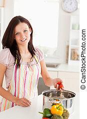 obiad, przygotowując, kobieta