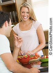 obiad, przygotowując, mąż, żona