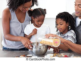 obiad, przygotowując, wesoły, rodzina