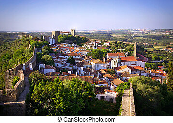 Obidos village - View of the beautiful medieval village of...