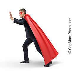 obiekt, oko, rzutki, maska, biznesmen, przylądek, niewidzialny, superhero, prospekt., bok, czerwony