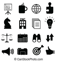 obiekty, komplet, handlowy, ikona