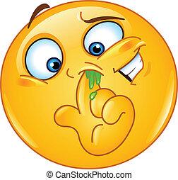 obierający nos, emoticon